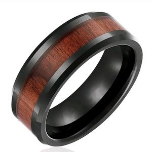 8mm Men Stainless Steel Wood Black Filled inlaid